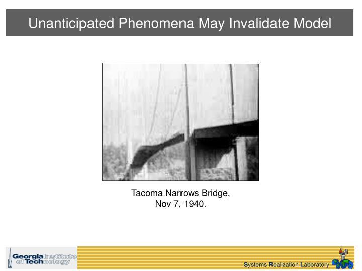 Unanticipated Phenomena May Invalidate Model