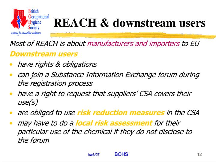 REACH & downstream users