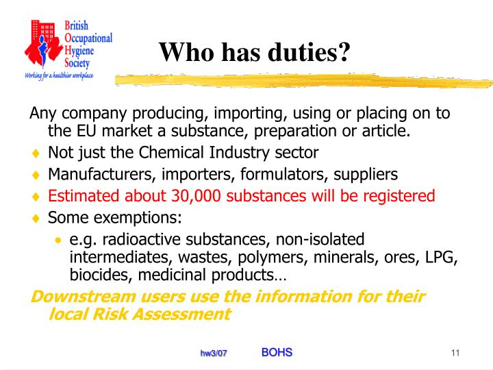 Who has duties?