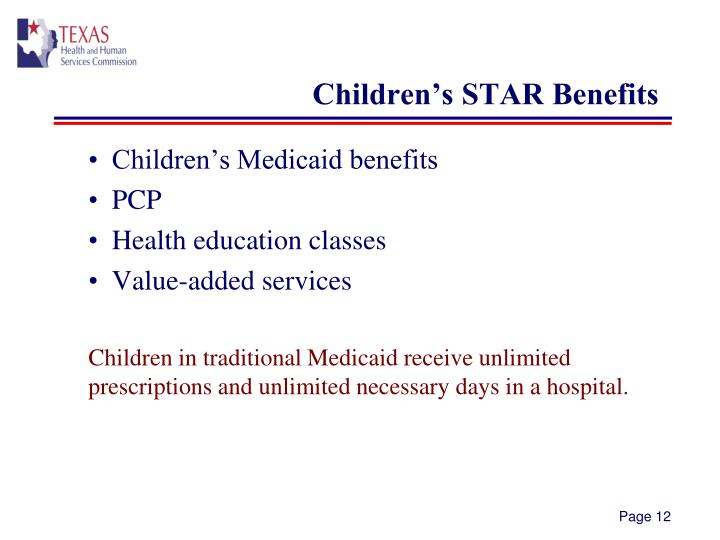 Children's STAR Benefits
