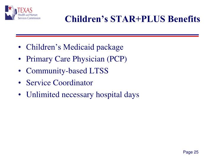 Children's STAR+PLUS Benefits