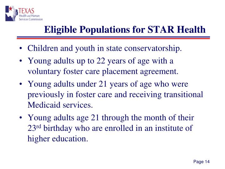 Eligible Populations for STAR Health