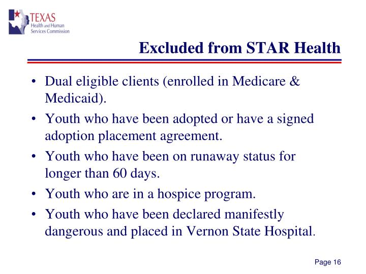 Excluded from STAR Health