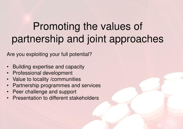 Promoting the values of partnership and joint approaches