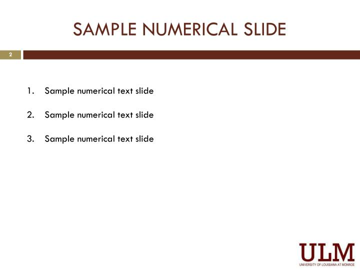 Sample numerical slide