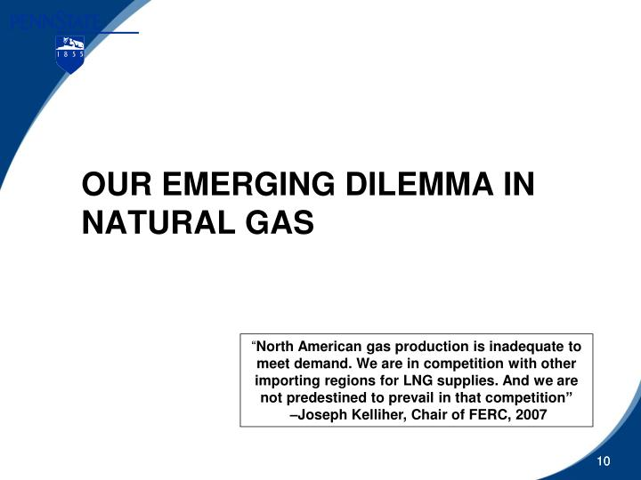 OUR EMERGING DILEMMA IN NATURAL GAS