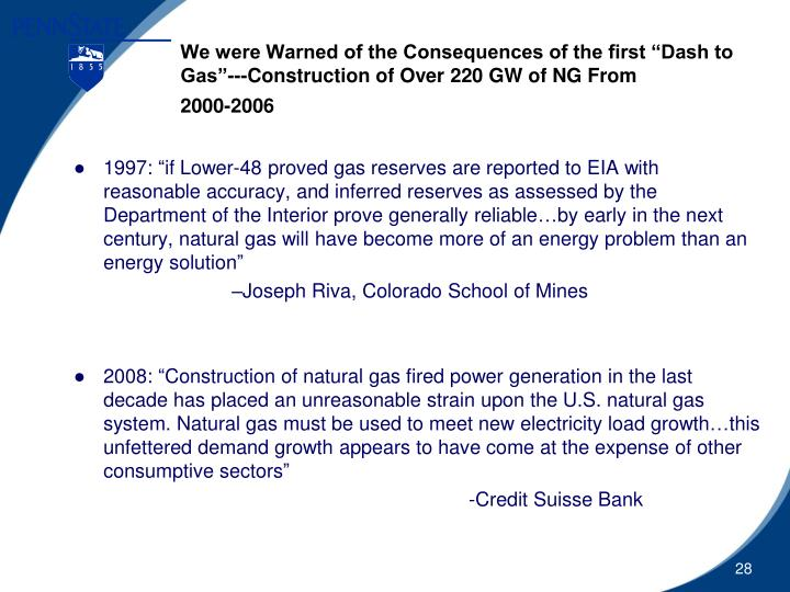 "We were Warned of the Consequences of the first ""Dash to Gas""---Construction of Over 220 GW of NG From"