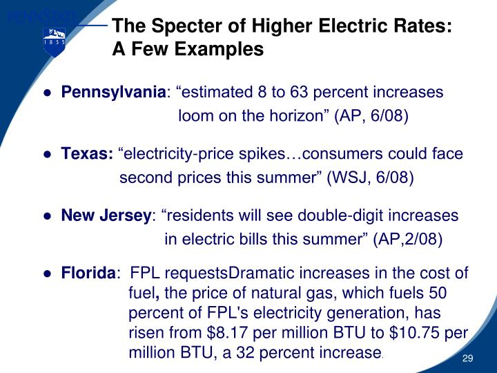 The Specter of Higher Electric Rates: