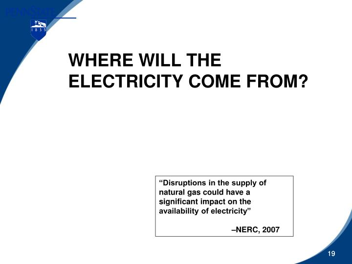 WHERE WILL THE ELECTRICITY COME FROM?