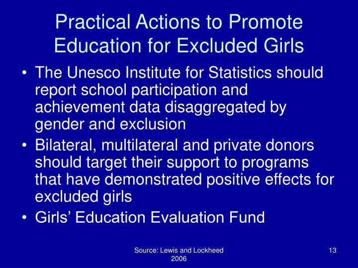 Practical Actions to Promote Education for Excluded Girls