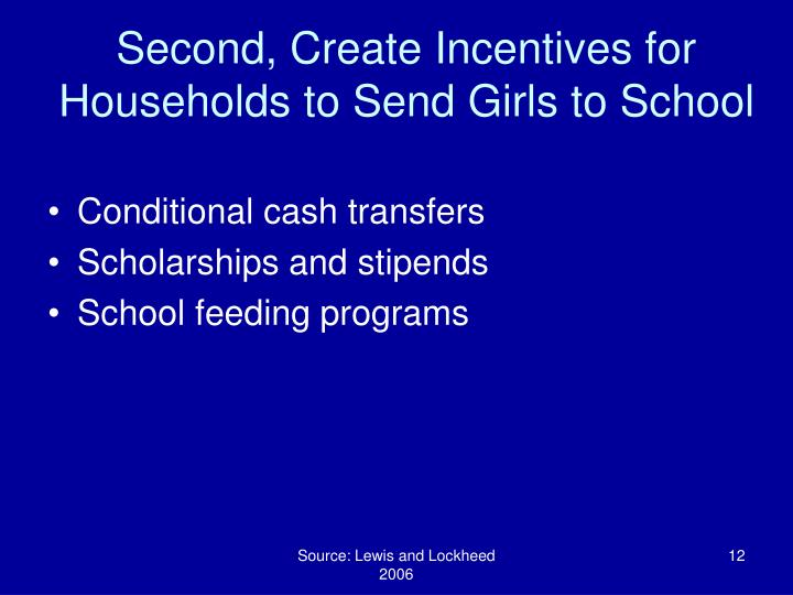 Second, Create Incentives for Households to Send Girls to School