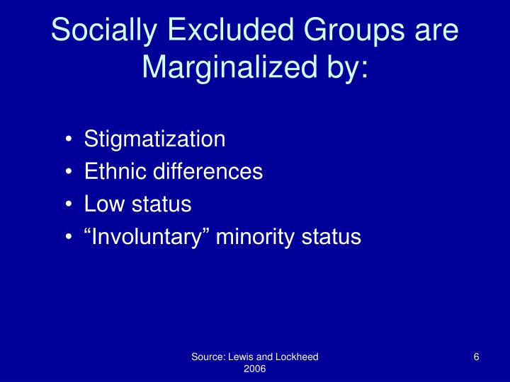 Socially Excluded Groups are Marginalized by: