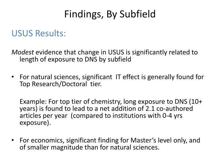 Findings, By Subfield