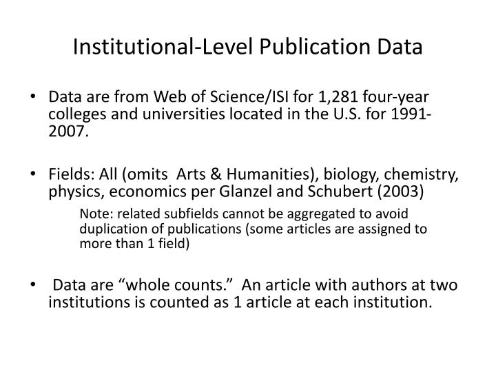 Institutional-Level Publication Data