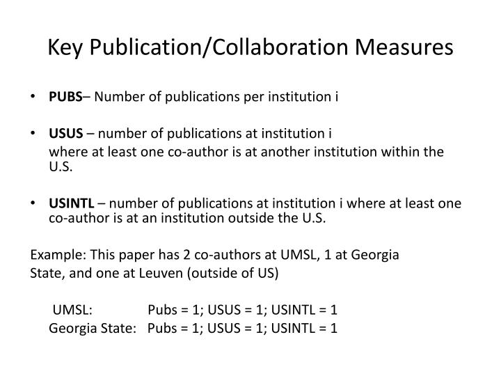 Key Publication/Collaboration Measures