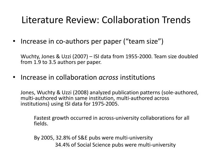 Literature Review: Collaboration Trends