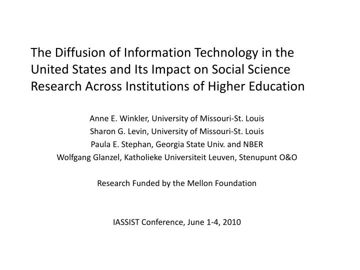 The Diffusion of Information Technology in the United States and Its Impact on Social Science Research Across