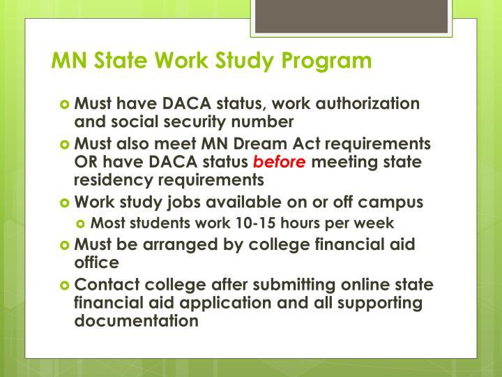 MN State Work Study Program