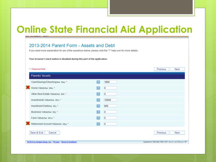 Online State Financial Aid Application