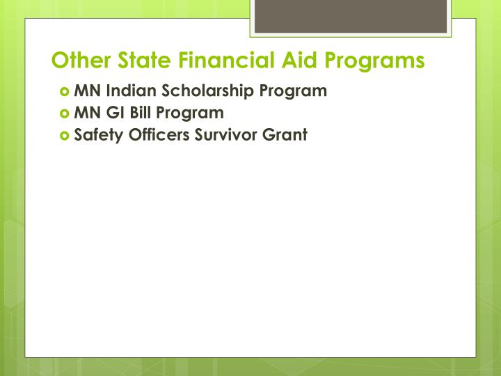 Other State Financial Aid Programs