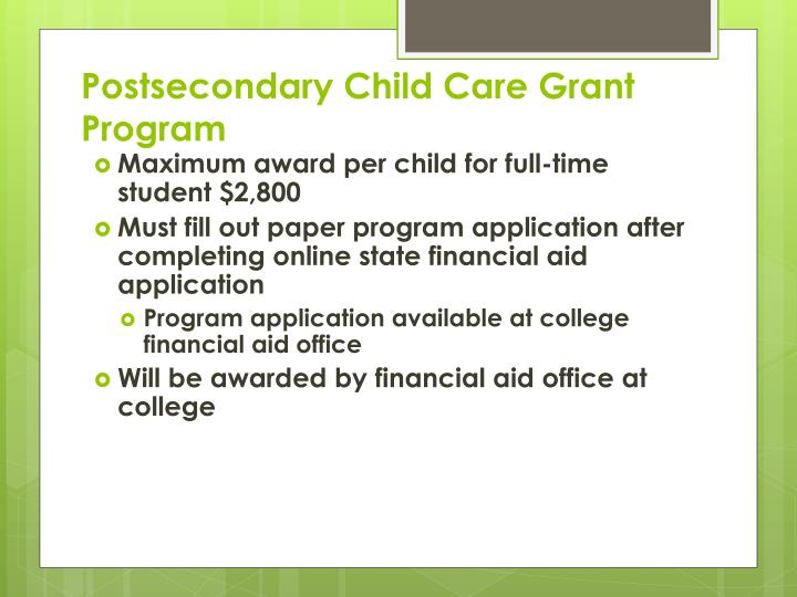 Postsecondary Child Care Grant Program