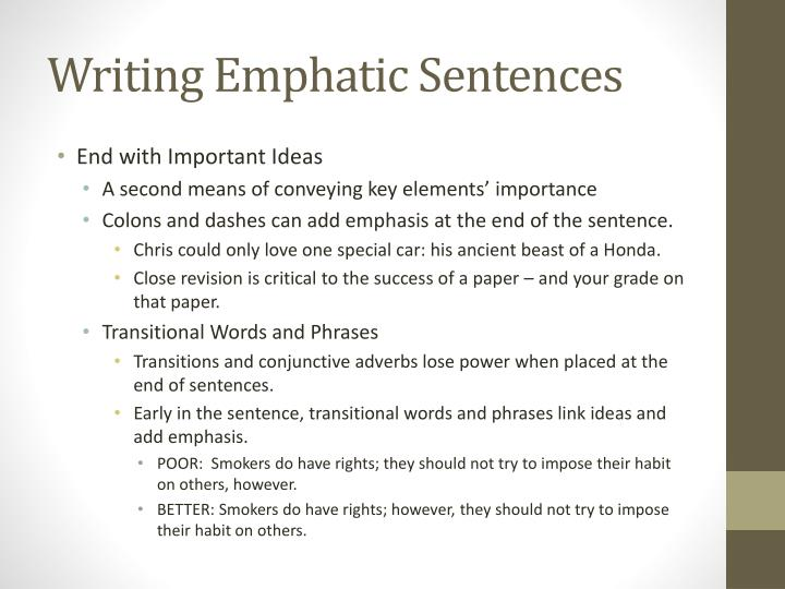 Ppt Writing Emphatic Sentences Powerpoint Presentation