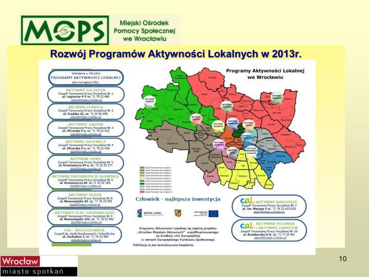 Rozwój Programów Aktywności Lokalnych w 2013r.