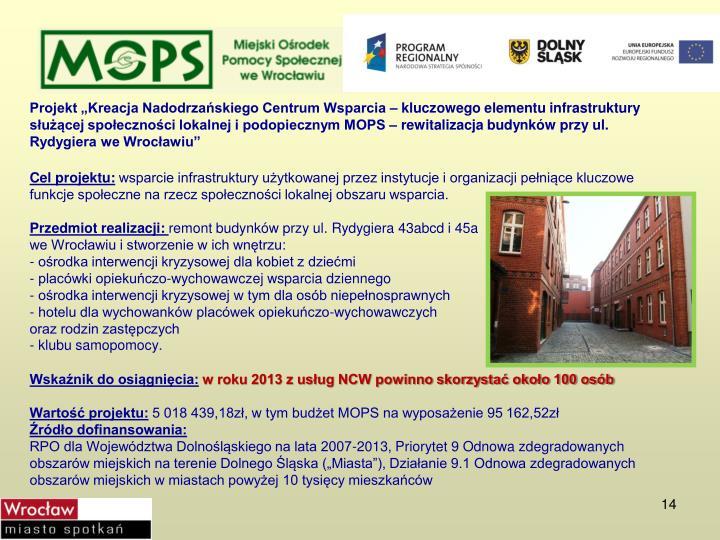 """Projekt """"Kreacja Nadodrzańskiego Centrum Wsparcia – kluczowego elementu infrastruktury służącej społeczności lokalnej i podopiecznym MOPS –"""