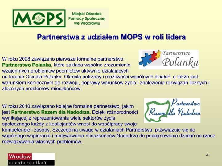 Partnerstwa z udziałem MOPS w roli lidera