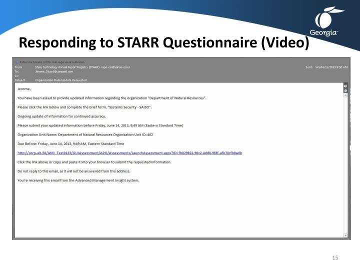 Responding to STARR Questionnaire (Video)