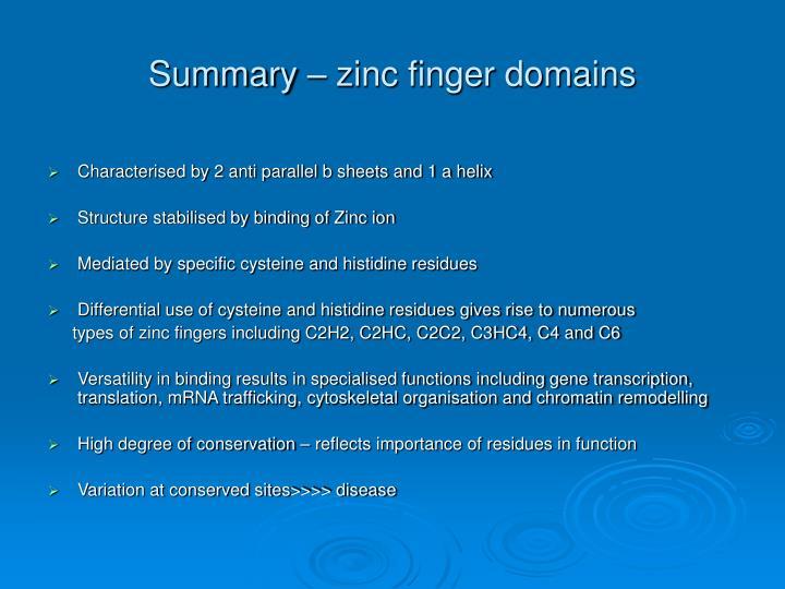 Summary – zinc finger domains