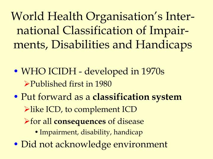 World Health Organisation's Inter-national Classification of Impair-ments, Disabilities and Handicaps
