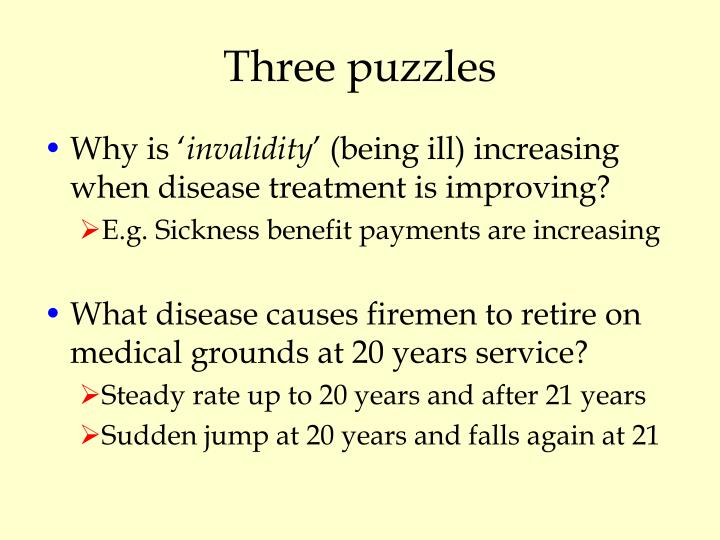 Three puzzles