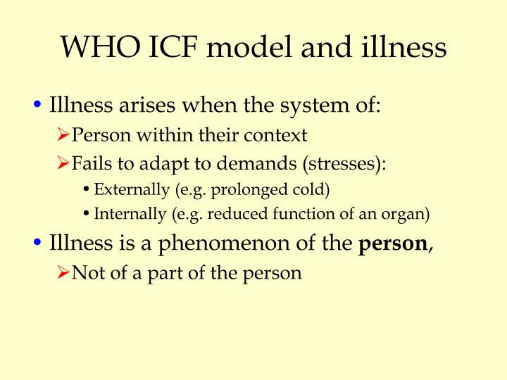 WHO ICF model and illness