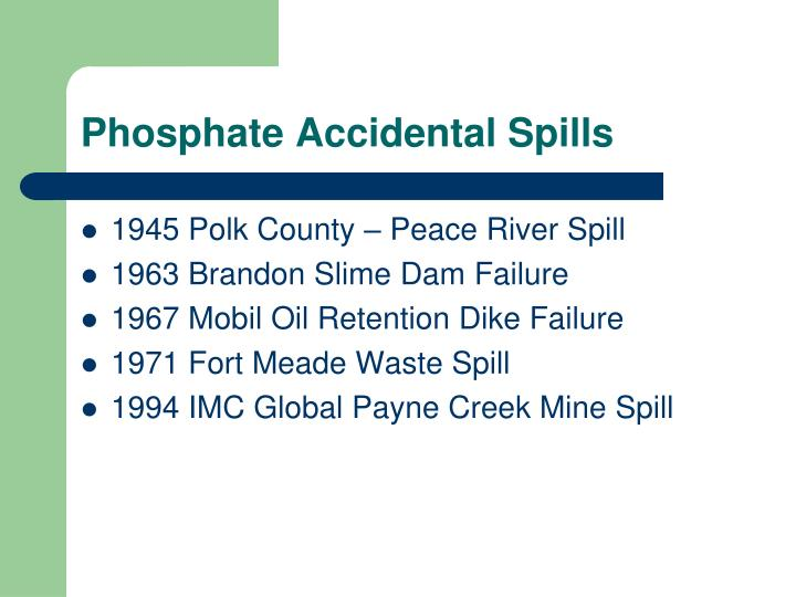 Phosphate Accidental Spills