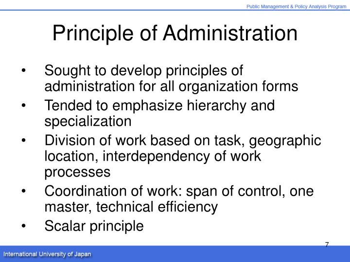 Principle of Administration