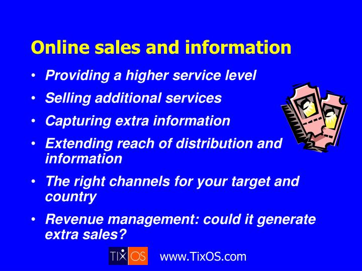 Online sales and information
