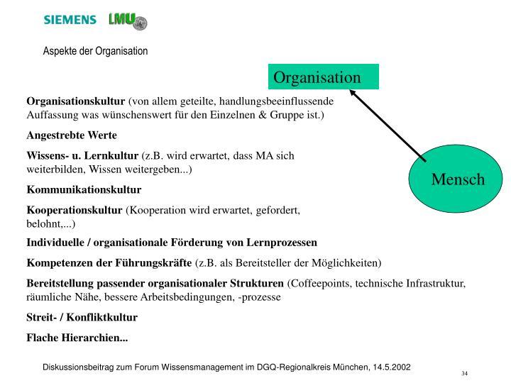 Aspekte der Organisation