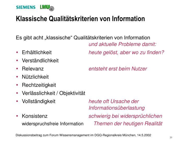 Klassische Qualitätskriterien von Information