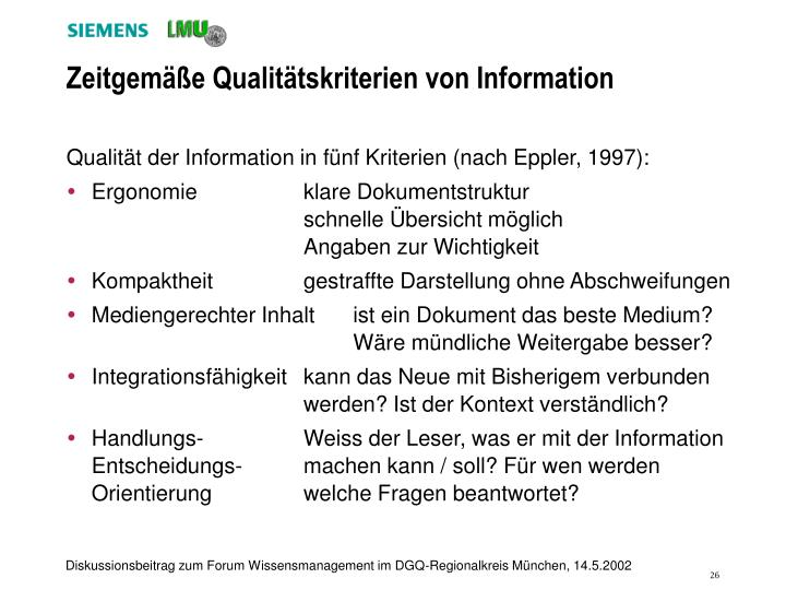 Zeitgemäße Qualitätskriterien von Information
