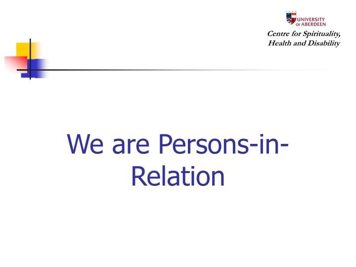 We are Persons-in-Relation