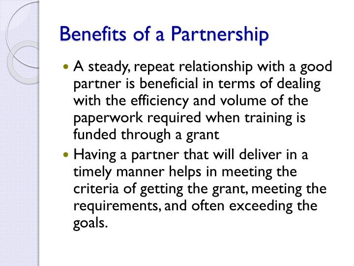 Benefits of a Partnership