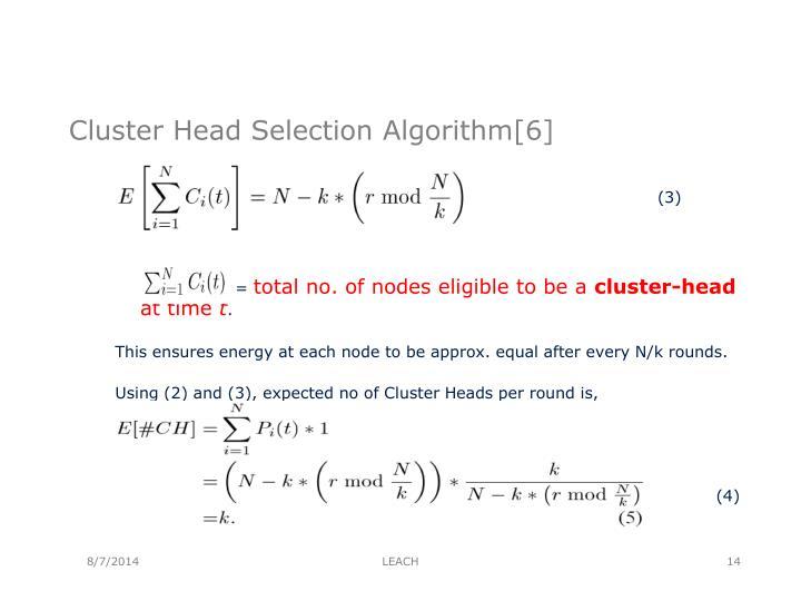 Cluster Head Selection Algorithm[6]
