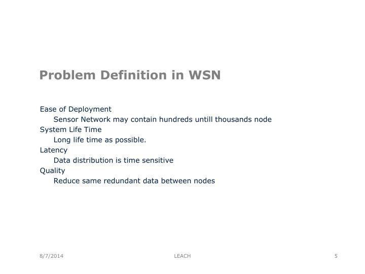 Problem Definition in WSN
