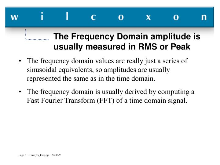 The Frequency Domain amplitude is usually measured in RMS or Peak