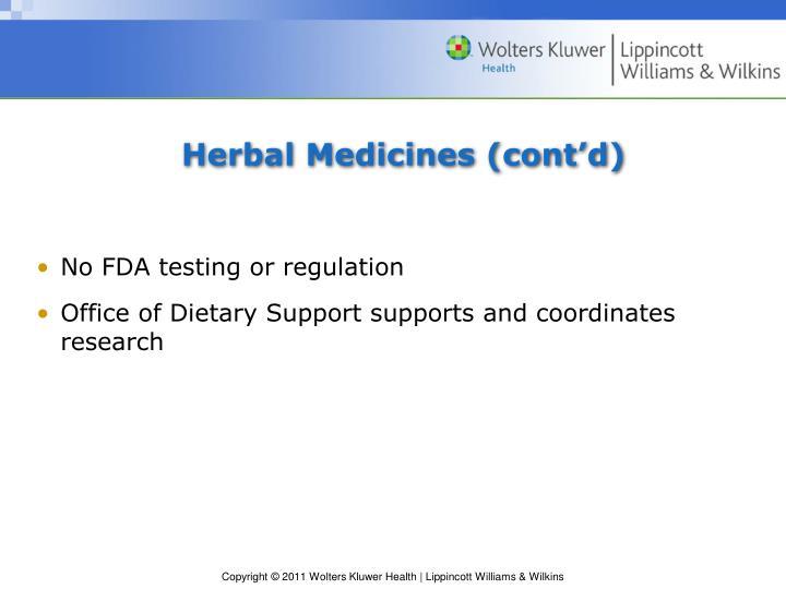 Herbal Medicines (cont'd)