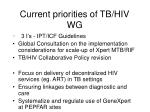 current priorities of tb hiv wg