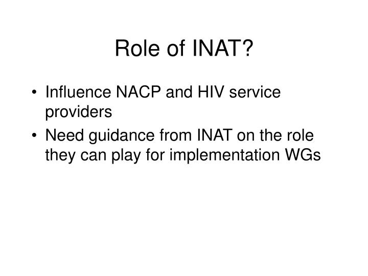 Role of INAT?