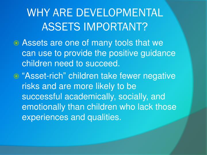 Why are developmental assets important