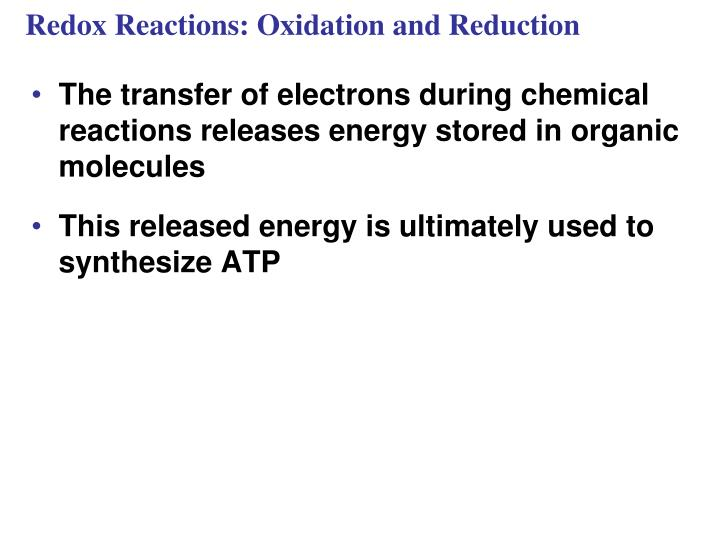 Redox Reactions: Oxidation and Reduction